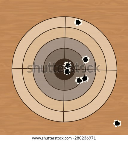 Illustration shooting range target with bullet holes - raster