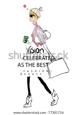illustration shopping girl - stock photo