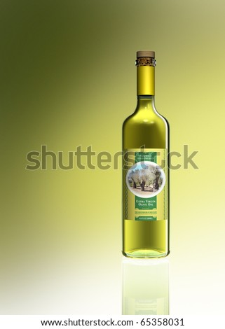 Illustration showing a bottle of olive oil with a fictitious label