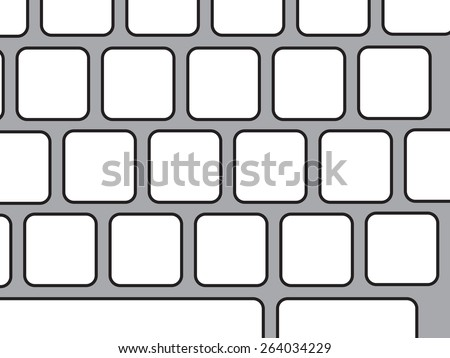 Illustration showing blank keyboard keys to fill your own letters - stock photo