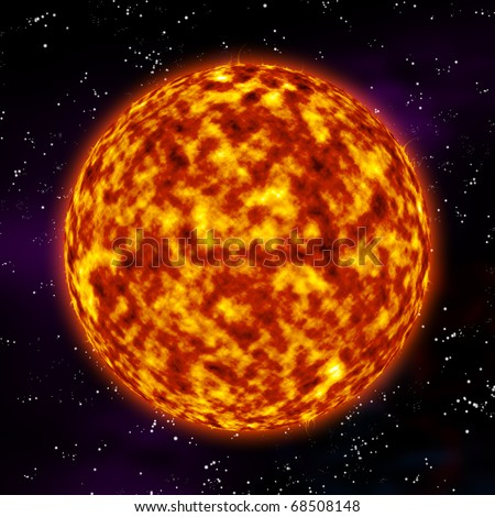 Illustration showing the detailed surface of the sun