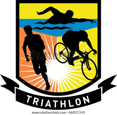 illustration showing the sport of triathlon with triathlete athlete swimming, biking or cycling and running