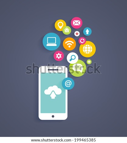 illustration showing the use of cloud computing  storage and applications on a mobile phone with a set of colorful icons on web buttons above a mobile device - stock photo