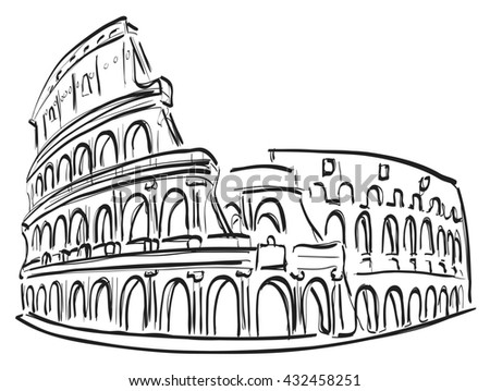 Illustration shows a architectural monument. Roman Coliseum