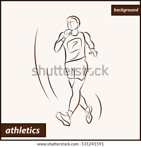 Illustration shows a athlete. Sport walking. Athletics