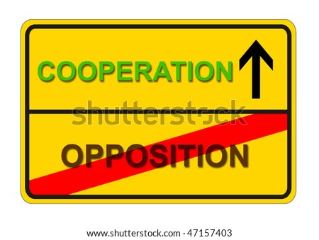 illustration sign with symbolic way from OPPOSITION to COOPERATION - stock photo