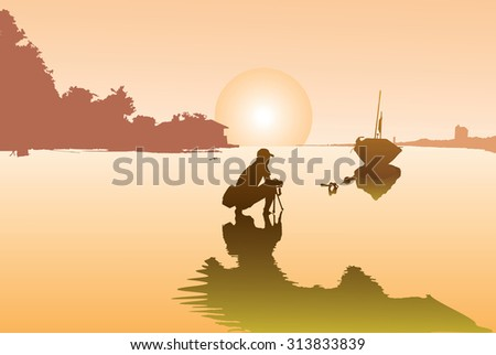 illustration, Silhouette of a photographers who shooting a sunset on the beach