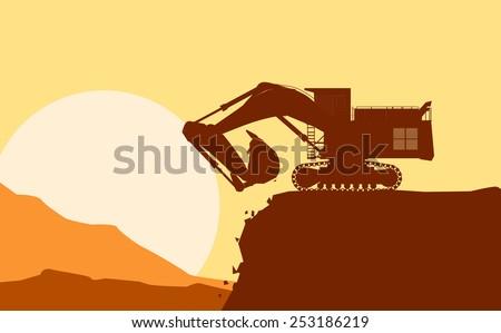 Illustration silhouette of working bulldozer on yellow background - stock photo