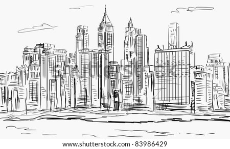 illustration sketch . street - facades of business office - stock photo