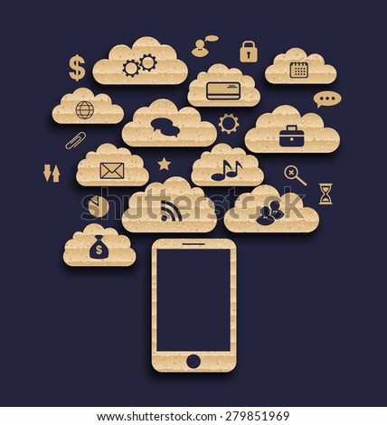 Illustration smart device with cloud of application icons, business infographics elements - raster