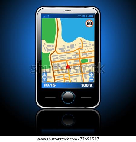 Illustration smart phone with GPS navigation. - stock photo