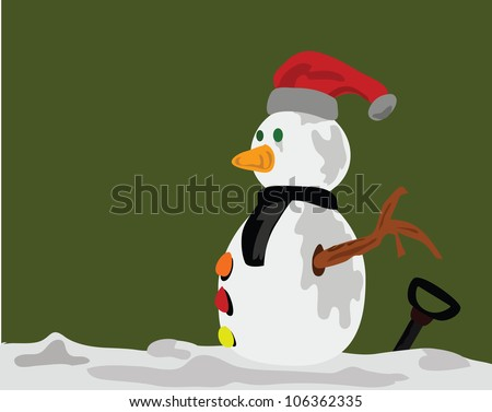 Illustration - Snowman,A snowman in the winter. - stock photo