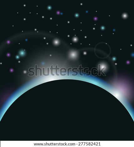 Illustration space background with earth and sunrise - raster