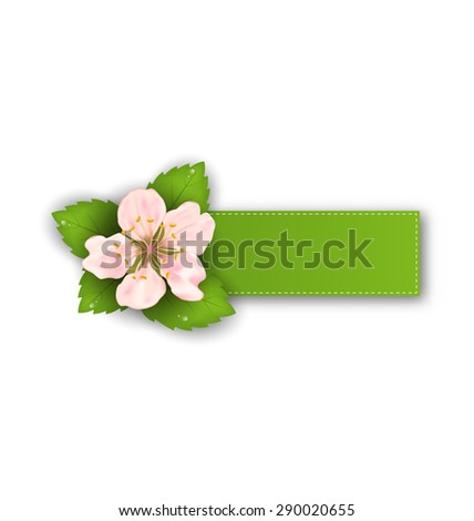 Illustration Special Offer Sticker with Flower, Isolated on White Background - raster - stock photo