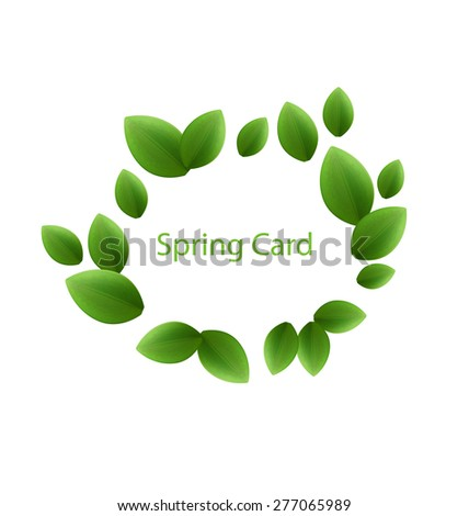 Illustration spring freshness card made in eco green leaves, isolated on white background - raster - stock photo