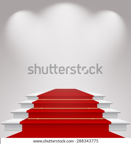 Illustration stairs covered with red carpet, scene illuminated - raster - stock photo