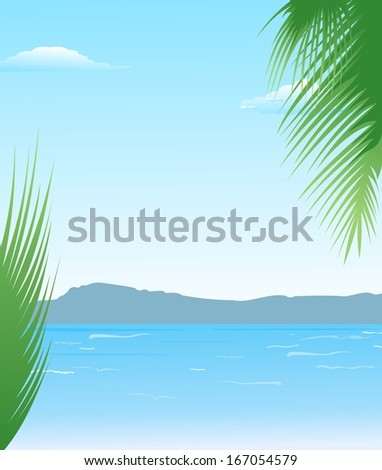 Illustration summer background with beach and mountains - raster - stock photo