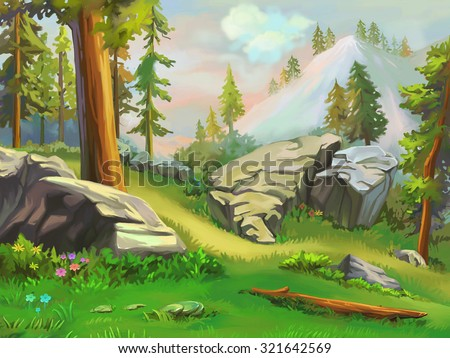Illustration: Take a short rest in the mountain woodland. Fantastic Cartoon Style Wallpaper Background Scene Design. - stock photo