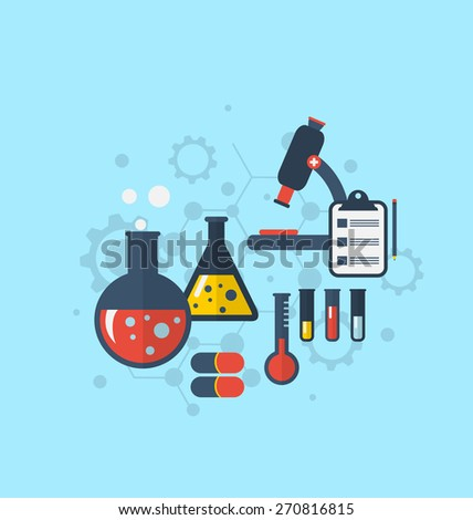 Illustration template for showing various tests being conducted in laboratory glassware using chemical solutions and reactions. Modern flat style - raster - stock photo