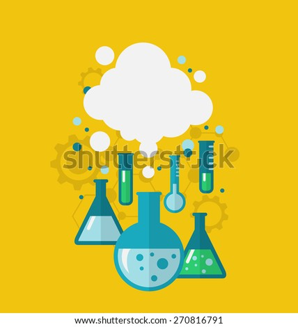 Illustration template of chemical experiment showing various tests being conducted in laboratory glassware using chemical solutions and reactions. Modern flat style - raster - stock photo