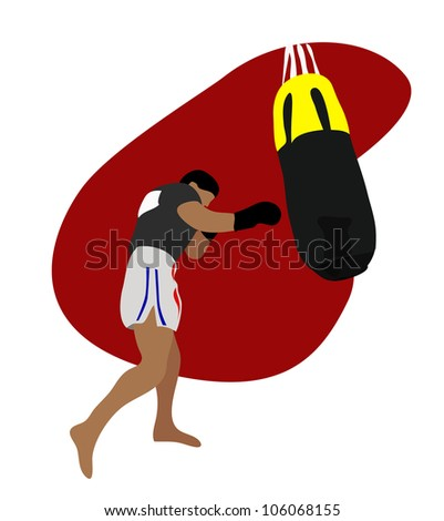 Illustration - Thai boxing.He is currently training Thai boxing.It called Muay Thai. - stock photo