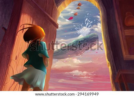 Illustration: That day when the girl opened the door, she saw a scene she will never forget - A whale in the sky. Song of the Sea Series. Fantastic/Realistic/Cartoon. Wallpaper/Background/Scene Design - stock photo