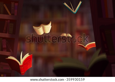 Illustration: The Book World. Realistic Fantastic Cartoon Style Artwork Scene, Wallpaper, Game Story Background, Card Design  - stock photo