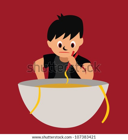 Illustration - The boy eating a big bowl of noodles. - stock photo