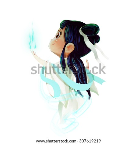 Illustration: The Chinese Fairy. Realistic Cartoon Style. Leading Role / Main Character Design. - stock photo