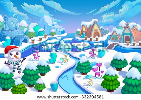 Illustration: The Entrance of the Snow World! Snow Man, Green Trees and Small Flowers, Ice Mountain, River, Snow Houses and Ice Igloo. Realistic Cartoon Style Scenery / Wallpaper / Background Design.