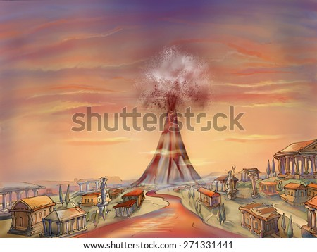Illustration. The eruption of the volcano Mount Vesuvius. Pompeii. Vesuvius. - stock photo
