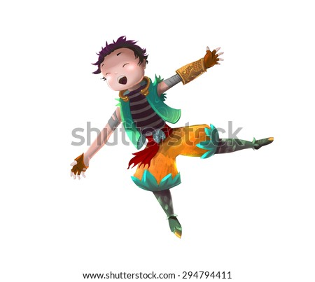 Illustration: The Excited Adventure Boy. Fantastic Realistic Cartoon Style. Character Leading Role Design. - stock photo