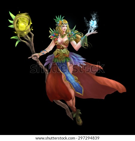 Illustration: The Forest Green Fairy - Goddess of Flowers. Realistic / Cartoon Style. Leading Role / Main Character Design.  - stock photo