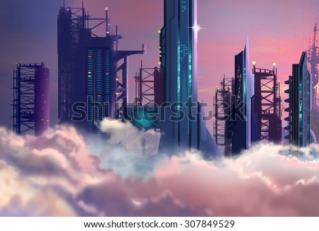 Illustration: The Future City Built High into the Clouds in 2048. Realistic Cartoon Style. Sci-Fi Scene / Wallpaper / Background Design. - stock photo