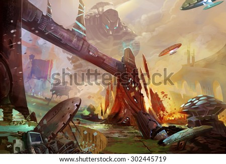 Illustration: The Future Earth - A Trash Planet - Occupied by Aliens and Robots. Realistic Style. Sci-Fi Topic. Scene / Wallpaper / Background Design.  - stock photo