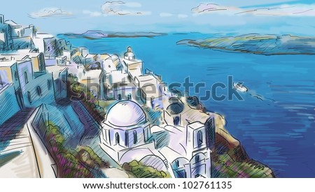 illustration the greek town - stock photo