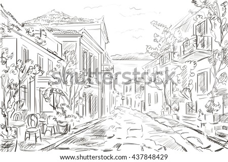 illustration the greek town - sketch concept