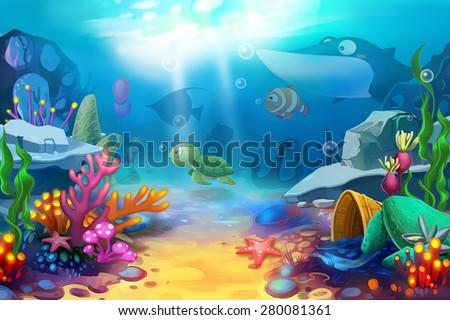 Illustration mountain sea fish like bird stock illustration illustration the happy ocean world scene design voltagebd Gallery