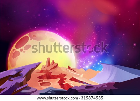 Illustration: The Magnificent Scenery, Cosmos Wonders on a Alien Planet. Story with Fantastic Cartoon Style Scene Wallpaper Background Design. - stock photo