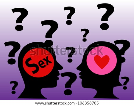 Illustration - The mind symbol of man and woman with a human head.The different of thinking,The man think in sex and the woman think in love. - stock photo