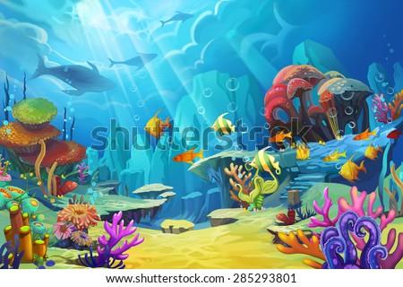 Illustration: The mountain in the sea - Fish is like bird. - Scene Design - Fantastic Style - stock photo