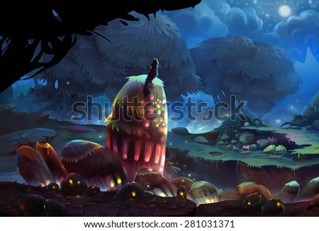 Illustration: The night is coming. The tiny bird stops and enjoy the moment of uprising of the fireflies. One of most amazing places in our tiny bird's journey of adventure. - Fantastic Scene Design - stock photo