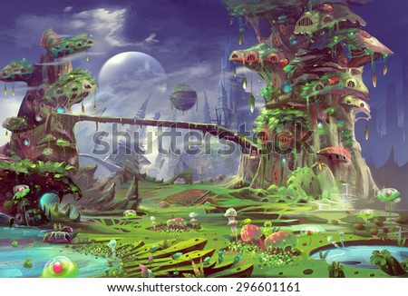 Illustration: The Panorama of the Prison Planet - The Gentle Version. Realistic Style. Scene / Wallpaper Design. - stock photo