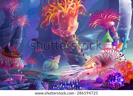 Illustration: The Running Water World - You may not noticed, the most magical thing here is that you can just breath the water! Even as the human being! - Scene Design - Fantastic Style - stock photo