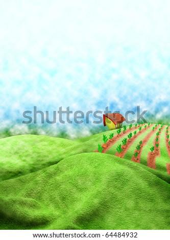 Illustration, the small house on horizon - stock photo