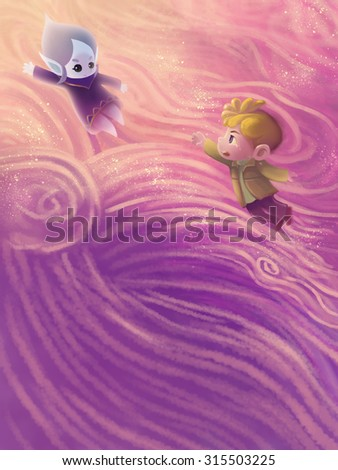 Illustration: The Snow Princess Sleeps. In her dream she become a water drop flying to her world. And the little boy does not want her leave. Fantastic Cartoon Style Scene Wallpaper Background Design. - stock photo