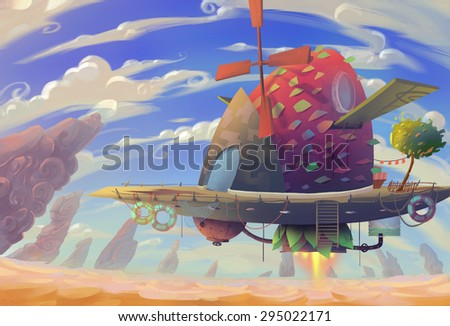 Illustration: The steampunk wooden airship flying in the desert. Fantastic Realistic Cartoon Style. Wallpaper Background Scene Design.  - stock photo