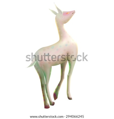 Illustration: The White Deer. Fantastic / Realistic / Cartoon Style, Story Character / Leading Role Design. - stock photo