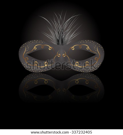 Illustration theater or Carnival mask with reflection on black background - raster