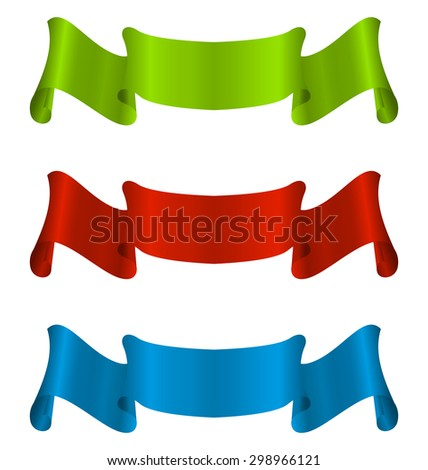 Illustration three colorful ribbon tape isolated on white background - raster - stock photo